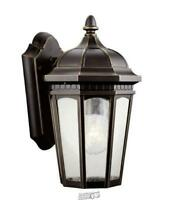 Courtyard 11 in. 1-Light Rubbed Bronze Outdoor Wall Mount Sconce with Clear Seed