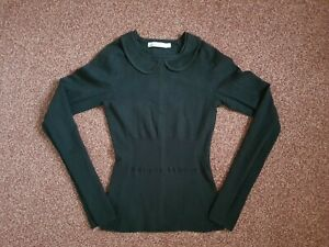 Karen Millen Black Ribbed Jumper With Peter Pan Collar Size 1 UK 6-8