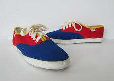 Esprit Womens Red Navy Yellow Old School Cotton Canvas Sneakers Shoes 7 M