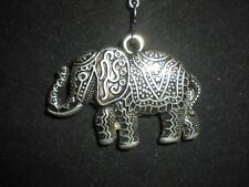 Large Tibetan Silver Acrylic Elephant Pendant Necklace with gift pouch