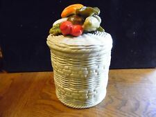 "Vintage Retro Kitchen Lefton Basket Weave Vegetable Canister Medium 8 3/4"" T"