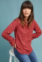 NWT Anthropologie Holding Horses Red Sammie Printed Button Down Shirt 0