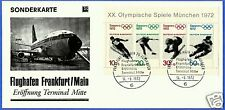 GERMANY, FRANKFURT AIRPORT, SPECIAL COMMEMORATIVE CARD WITH OLYMPIC BLOCK 1972