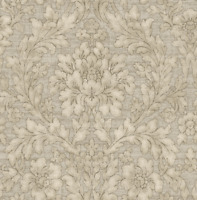 Vintage Floral Wallpaper Damask Arts and Crafts Silver Gray Bronze Rorschach