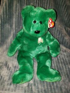 TY Beanie Baby Buddy Erin Green White Shamrock Bear Ireland Country