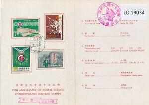 LO19034 Taiwan 1966 postal service anniversary FDC used