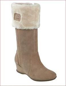 Anne Klein Sport Inda Dark Natural Beige Wedge Faux Fur Cuff Boots 10