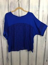 Gibson Latimer Womens Size Small Shirt Blue Lace Loose Short Sleeve Top