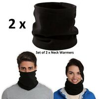 2 x Thermal Fleece Neck Warmer Tube Face Mask Snood Scarf Womens Ladies Mens Ski