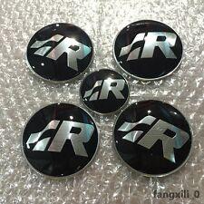 4x Wheel Center Caps Hubs 1pcs Steering SR Stickers R line Badge Emblem for VW