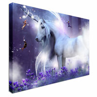 Purple Unicorn Magic Fly Horse Canvas Prints Abstract Wall Art Pictures Unframed