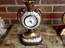Siècle Table Mantel Clock Ceramic Vase Gold White Vintage Quartz