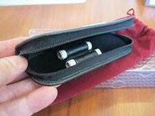 Visconti premium black calf leather Midi two-pen zip case NN10