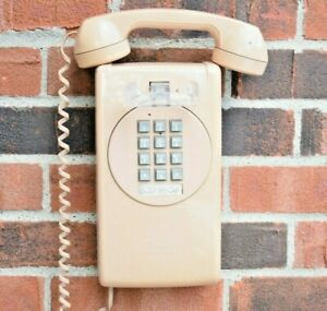 Vintage Telephone Wall Mount Corded Pushbutton Beige Phone with 8 ft long cord!