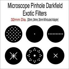 Microscope Pinhole Darkfield Exotic Filters 32mm Dia. (33, 34, 35mm W/ Adapter