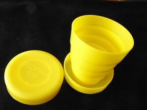 Vintage YELLOW Silicone Plastic  COLLAPSIBLE CUP - 1 Cup Capacity