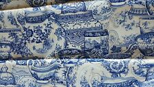 RARE French Country Blue & White Porcelain China Teapot Teacup Fabric - 36w x 2y