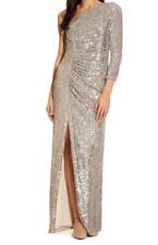Adrianna Papell Sequin One Shoulder Dress Heather Brown Ladies Size UK *REF46