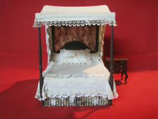 Vintage Dona Osborn dollhouse miniature dressed 4 poster Colonial bed 1:12 scale