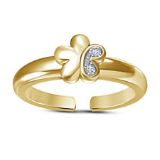 Round Cut Diamond Flower 14K Yellow Gold Plated Adjustable Toe Ring For Women's