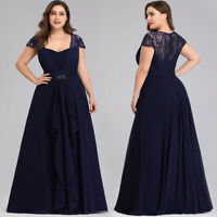 UK Ever-Pretty Lace Sleeves Long Mother of Bride Dress Cocktai Evening Prom Gown