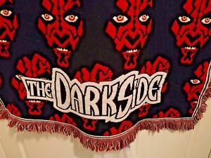 "60x45"" Star Wars Darth Maul Woven Tapestry Throw Blanket Northwest Dark Side VTG"