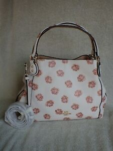 NWT Coach EDIE 28 Bag GLITTER ROSE Print Leather 32313 LOVELY