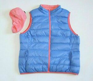 Women's TOM TAILOR Reversible Blue Pink Down Waistcoat Body Warmer Vest Gilet XL