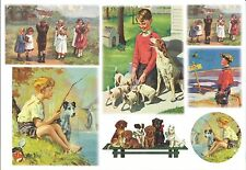 Papier de riz DFS153 Enfants et Chiens Rice Decoupage Paper Dogs and Children