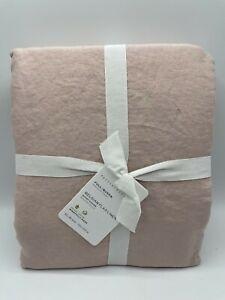 New Pottery Barn Belgian Flax Linen Full/Queen Duvet Cover ~Soft Rose~
