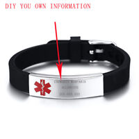 Customized Men Women Medical Alert ID Aid Silicone Bracelet Gift Stainless Steel
