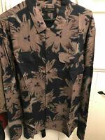 All Saints Dark Floral Print Shirt - Long Sleeve - Slim Fit - Black - S & L