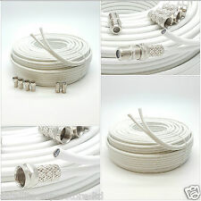 30m White TWIN Coaxial Satellite Extension Cable suitable for Sky Q, HD Freesat