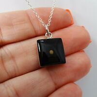 Square Mustard Seed Necklace - 925 Sterling Silver Pendant Faith Bible Gift NEW