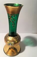 1900'S CZECH BOHEMIAN CRYSTAL VASE EMERALD GREEN WITH GOLD GILT & HAND PAINTED F