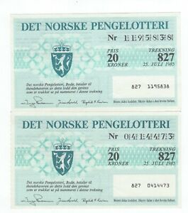 NORWAY: Lot 2  Lottery tickets 1988.