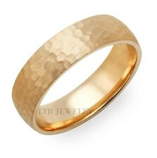 18K YELLOW GOLD MENS HAMMERED FINISH WEDDING BANDS RINGS  6MM