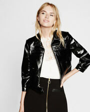 EXPRESS XS BLACK CRACKLE FAUX PATENT LEATHER MOTO JACKET coat x-small 0-2