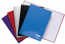 A5 Hardback Casebound Notebook 160 Pages White Feint Ruled Black/Blue/Purple/Red