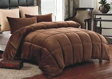 Down Alternative Supreme Plush Comforter Blanket Full/Queen 3 PC Set Brown