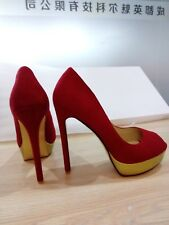 New  Size 10. Women's Suede Platform Open Toe & 51/2 Inches Heel. Colour RED