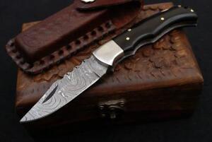 Handmade Buffalo Horn Handle 6.5''  Damascus Steel Folding Pocket Knife W /Case