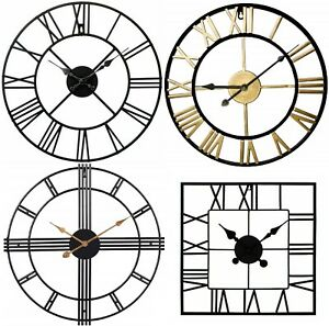 Large Metal Skeleton Roman Numeral Wall Clock Black Round & Square Shape 40/60cm