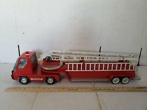 """Vintage Pressed Steel """"NYLINT"""" Aerial Hook 'n Ladder 30"""" Red FIRE TRUCK"""
