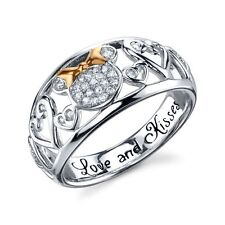 STERLING SILVER GENUINE NATURAL DIAMOND LOVE & KISSES DISNEY MINNIE MOUSE RING 6