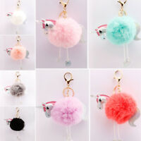 Unicorn Plush Ball Keychain Keyring Handbag Key Ring Pom Pom Bag Charm Pendant