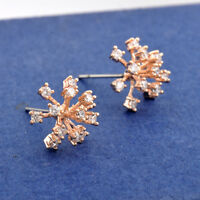 New 18K Rose Gold / Gold Plated Sparkling Crystal Flower Snowflake Stud Earrings