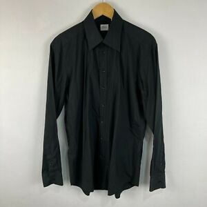 Armani Collezioni Mens Button Up Shirt 42 Black Long Sleeve Collared