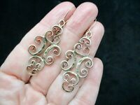 Vintage-Circa 1965 Gold Tone Dangle Wire Pierced Earrings