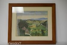 Vintage Wood Frame GRANDMA MOSES Print Hoosick Valley From My Window - 22x18
